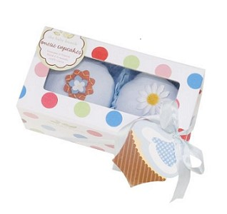 The Baby Bunch Cupcakes Box of Two, 0-6 Months (Blue)