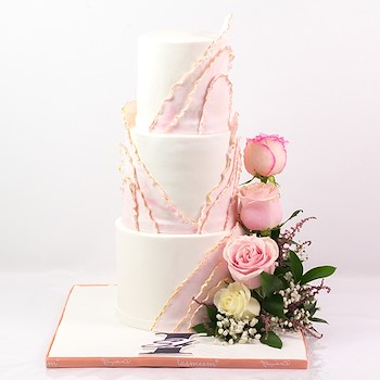 Three Tiered Pink Cake