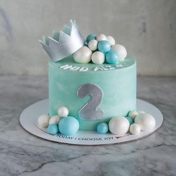Silver Crown Cake Blue