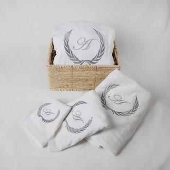 Grey Robe & Towels Basket