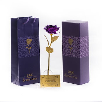 Purple Gold Plated Rose