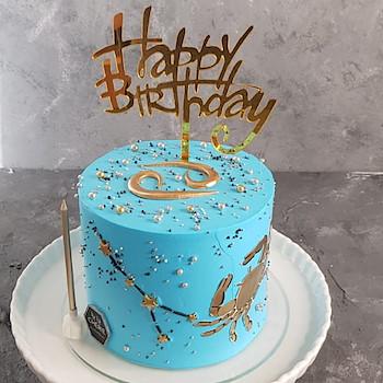 Cancer Horoscope Cake Blue