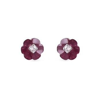 Rhodolite Diamond Earring