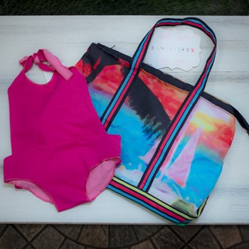 Colorful Bathing Suit & Bag (10 yrs)