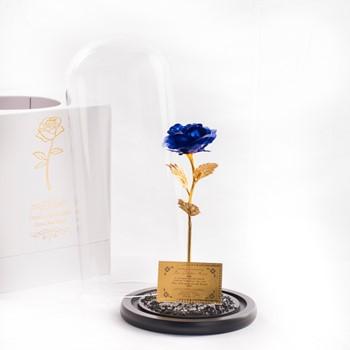 Gold Foiled Blue Rose