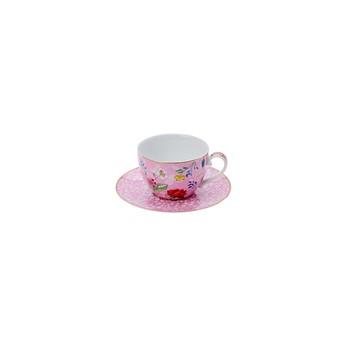 Cherry Floral Tea Cup & Saucer