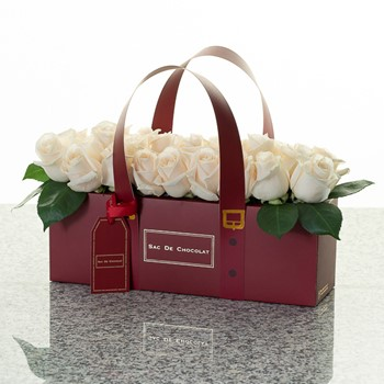 Maroon Bag White Roses  (1 Kg)